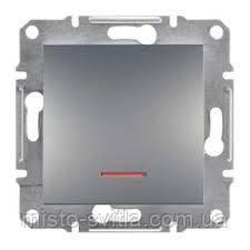 Выключатель с подсветкой кнопочный сталь Sсhneider Asfora