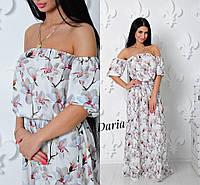 """Платье модное макси в пол с открытыми плечами супер-софт """"Орхидея """"2 цвета SMch1353"""