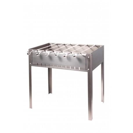 Мангал для шашлыков 6-местный черный, штампованный, толщина 1,0 мм, с шампурами 1160