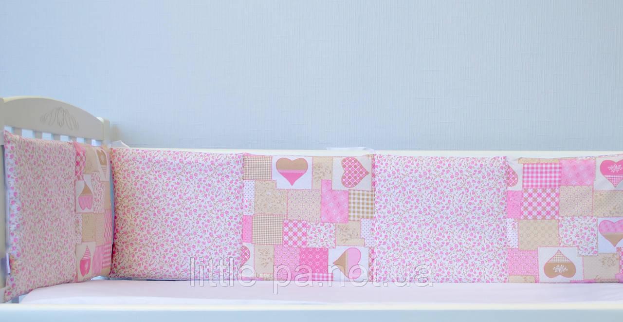 Бортики для кроватки детской «Пэчворк розовый»