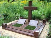 Гранитный памятник для двоих с крестом