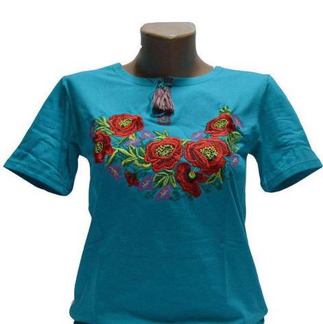 Бирюзовая футболка на короткий рукав с вышивкой Роксолана, фото 2