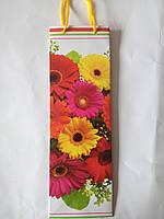 Пакет подарочный бумажный бутылка 12х36х9 (25-001)