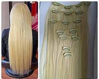 Волосы на заколках цвет №613А блонд с желтинкой