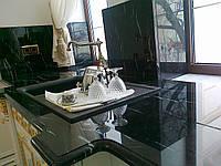 Столешницы из мрамора мрамор Nero Marquina, Испания, полировка