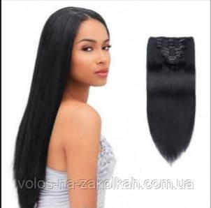 Волосы на заколках цвет №1 черный, фото 2