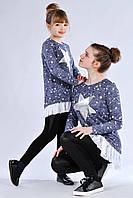 Детская подростковая красивая трикотажная кофточка туника со звездами