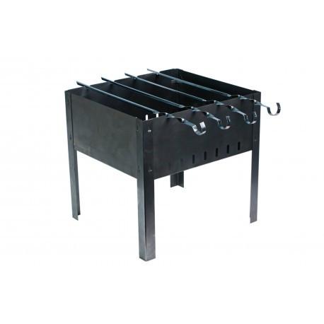 Мангал для шашлыков 4-местный черный, штампованный, толщина 1,0 мм, с шампурами 1163