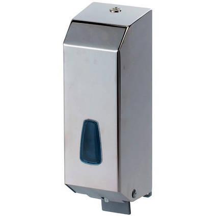 Дозатор диспенсер жидкого мыла моющего средства из нержавеющей стали 1200 мл хром настенный ударопрочный, фото 2