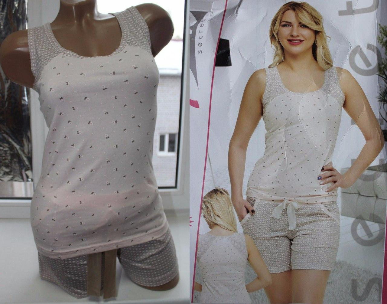 Пижама майка+шорты Pink Secret 44-46 беж, фото 1