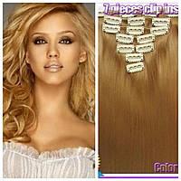 Волосы на заколках цвет №27Х карамельный  блонд