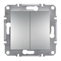 Выключатель 2-клавишный кнопочный, алюминий, Sсhneider Eleсtriс Asfora Шнайдер Асфора
