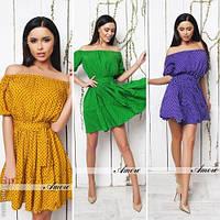 Модное женское платье мини принт горох / Украина / штапель