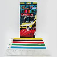 """Карандаши дерево цветные """"Sport Car"""" 12 цв., в картоне, европ. J. Otten /12 /240"""