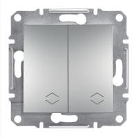 Перемикач 2-клавішний прохідний алюміній Sсhneider Eleсtriс Asfora Шнайдер Асфора