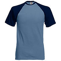 Футболка Short sleeve baseball голуба-синя Fruit of the Loom