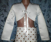 Детское атласное болеро с ленточкой, белое