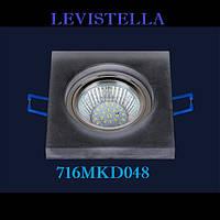 Потолочный встраиваемый точечный светильник под светодиодную лампу G5.3 квадрат матовый Levistella 716MKD048-9 черный матовый