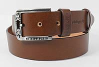 Кожаный ремень под джинсы Philipp Plein 8008-407 коричневый 40 мм, итальянская кожа