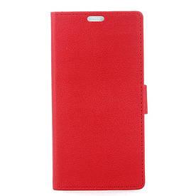 Чехол книжка для Doogee X9 Mini боковой с отсеком для визиток и отверстием под динамик, Красный
