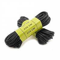 Шнурівки восковані 220 см чорні Mil-Tec