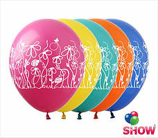 """Воздушные шарики Цветочки и узоры 12"""" (30 см)  ТМ Show"""