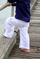 Детские льняные брюки белые унисекс свободные пляжные, беж, синие, черные, фото 1