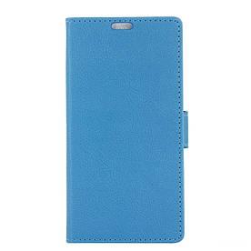 Чехол книжка для Doogee X9 Mini боковой с отсеком для визиток и отверстием под динамик, Голубой