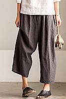 Модные льняные широкие свободные брюки. Цвет на выбор, фото 1