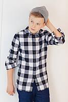 Рубашка в черно-белую клетку  для мальчика