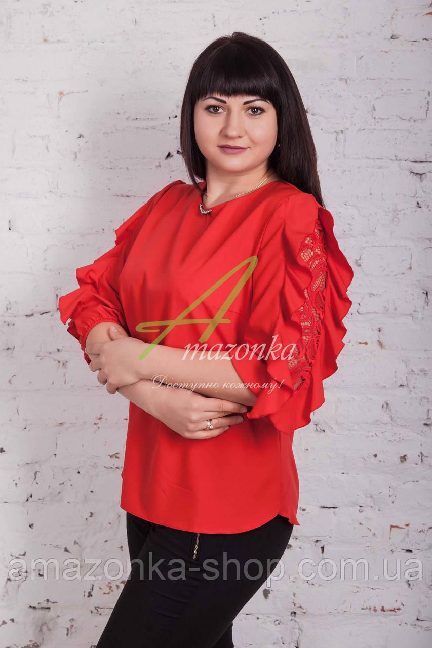 Модная женская блуза с рюшей весна 2017 - (код бл-98)