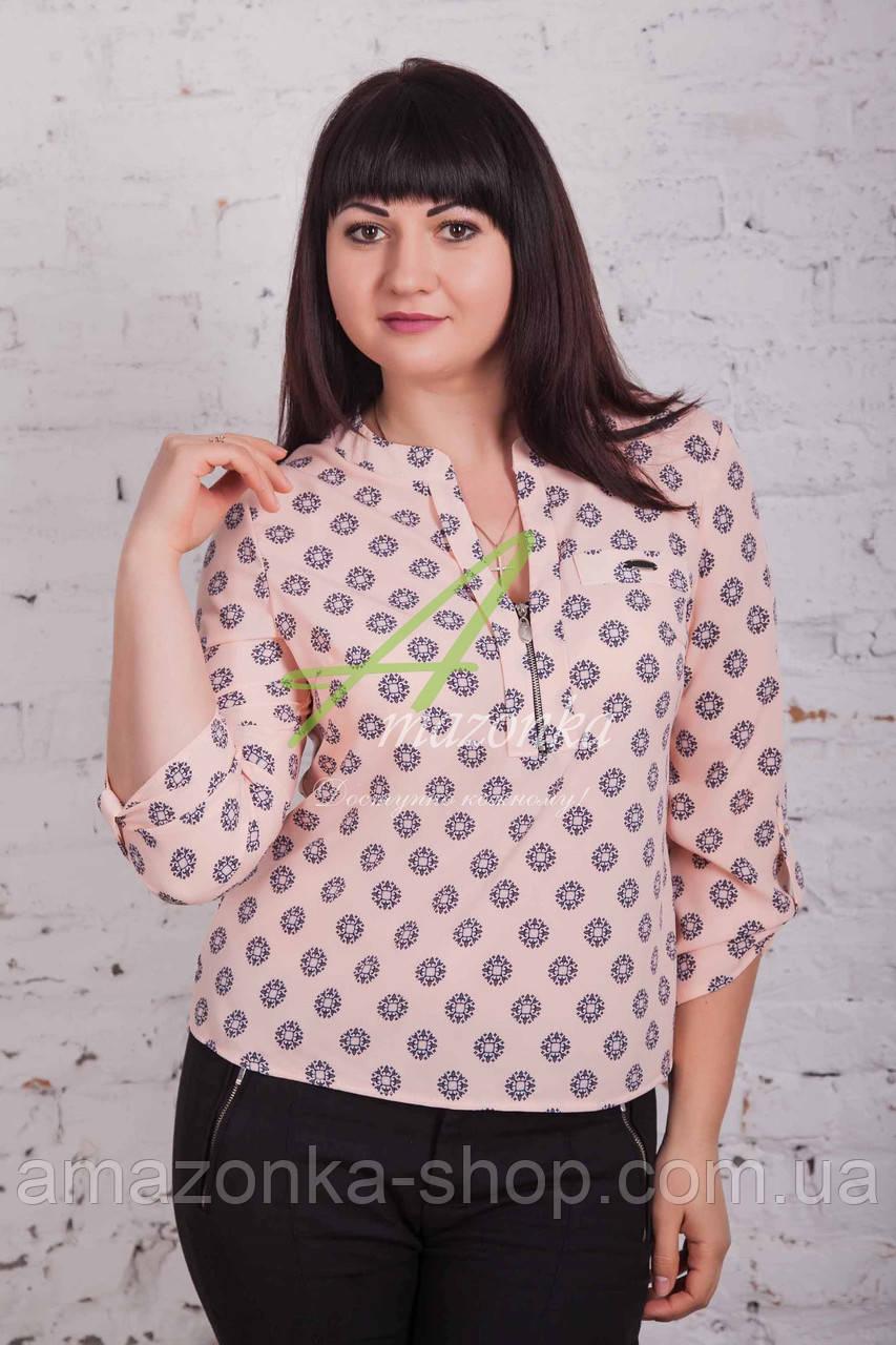 Женская блуза на весну 2017 с молнией на декольте - монетка - (код бл-131с)