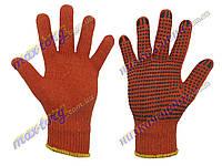 Перчатки ХБ с ПВХ точкой, 2 -сорт, оранжевые, 12 пар/уп.