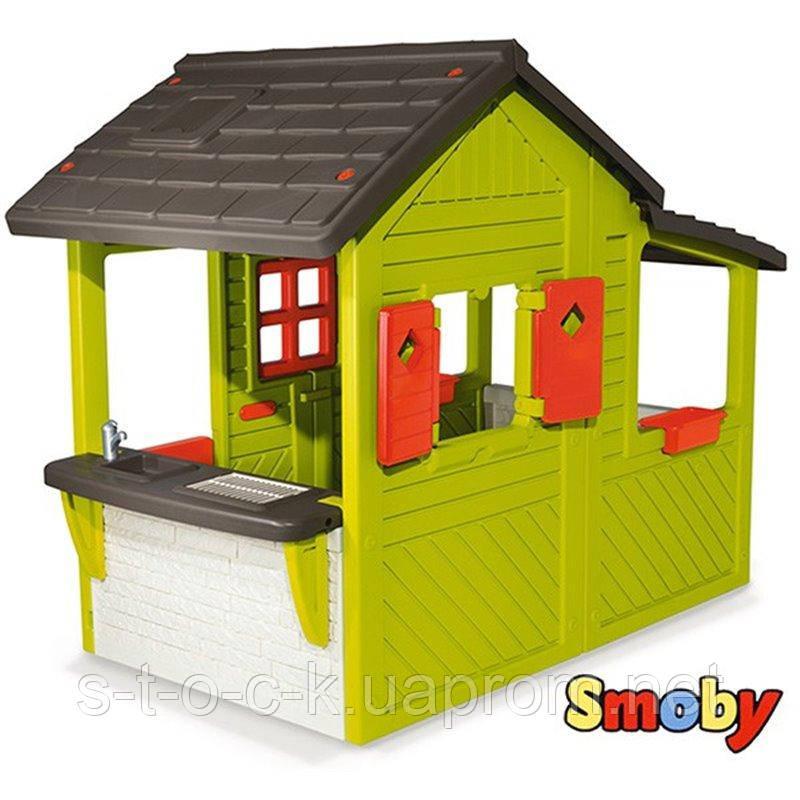 Садовый домик Smoby с кухней-барбекю и звонком (310300)