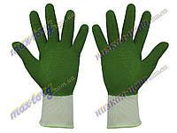 Перчатки строительные, пена(ребро), зеленые