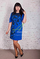 Нарядное женское платья с цветочным принтом - разные цвета - Код пл-163а