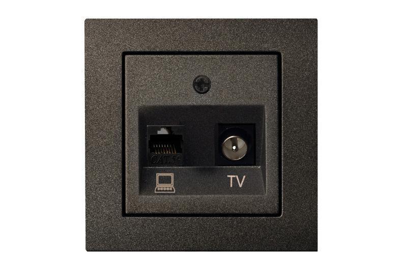 Розетка TV+компьютерная розетка, антрацит, Epsilon