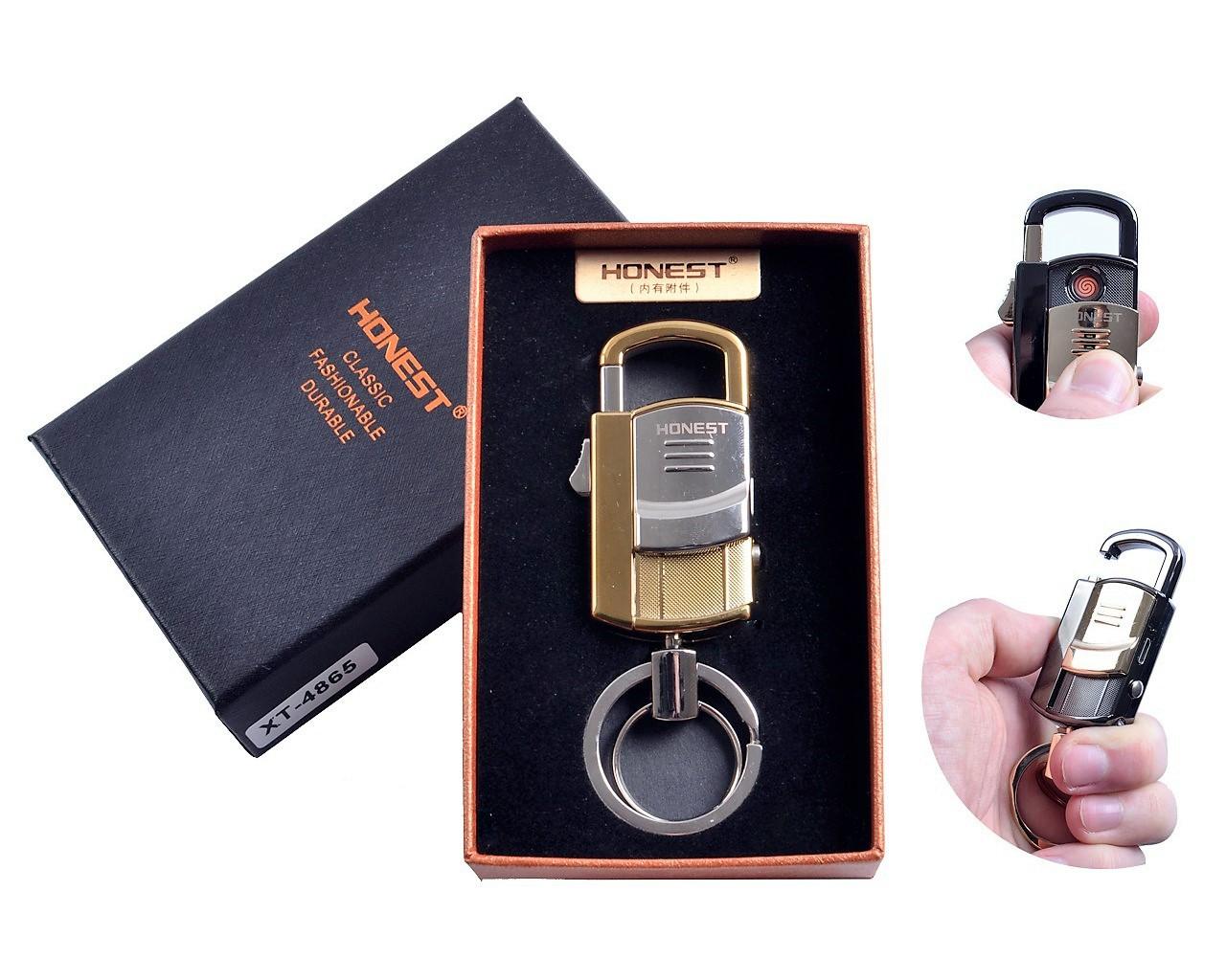 """Спиральная USB зажигалка-брелок """"Honest"""" №4865-1 с фонариком и карабином, необычный подарок коллегам или другу"""