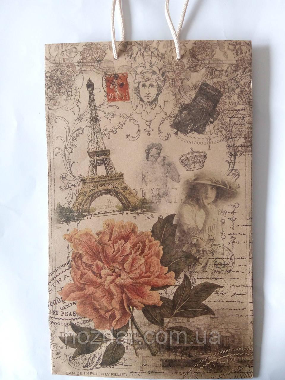 Пакет подарочный бумажный большой вертикальный крафт 25х39х9 (27-066)
