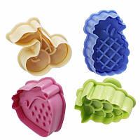 Набор форм-плунжеров Фрукты для печенья,мастики(с прессом) 4шт.