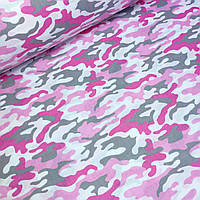 """Хлопковая ткань, бязь с рисунком """"Камуфляж"""" серо-розовых цветов № 603"""