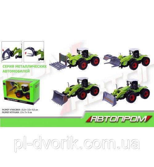 Трактор Металл 7788 (144шт/2) АВТОПРОМ 6 Видов В Коробке 15,5*9,5*7,5 См