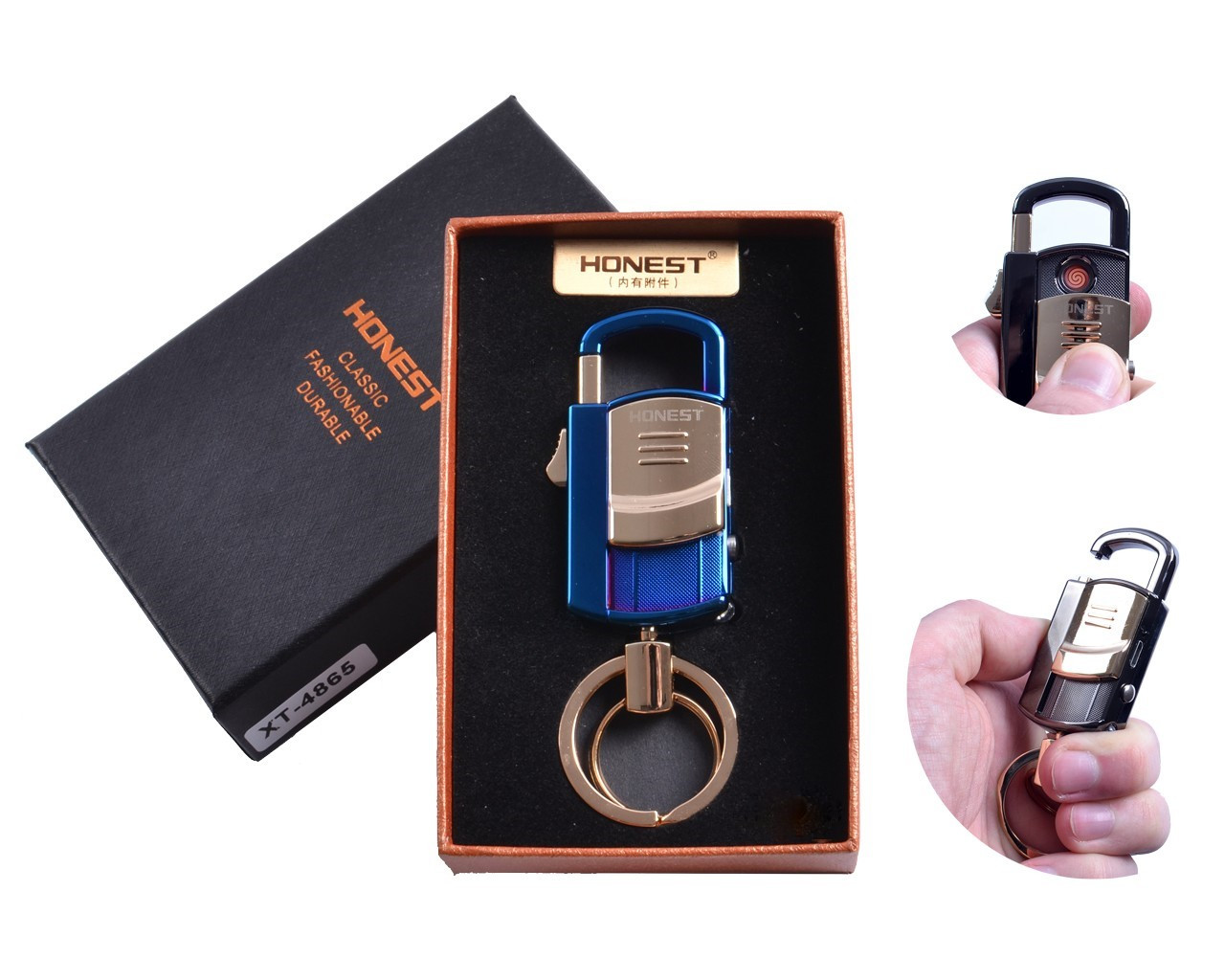"""Спиральная USB зажигалка-брелок """"Honest"""" №4865-2, фонарик, карабин, брелок, спираль накаливания, все в одном"""