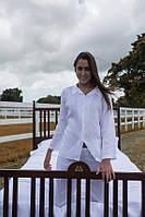 Белоснежная пижама из натурального льна брюки и рубаха. Возможны другие цвета, фото 1