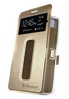 Золотистая кожаная чехол-книжка Nillkin на магнитной застежке для Lenovo Vibe C A2020