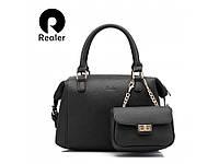 Не большая вместительная классическая сумочка Realer для деловой женщины. Хорошее качество. Дешево Код: КГ1049