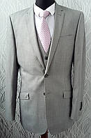 Мужской костюм свадебный CedarWood State серый с жилеткой приталенный серый светлый. Размер 52 ХL