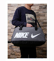 Спортивная сумка Nike серая с белым логотипом