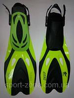 Ласты для плавания и дайвинга с открытой пяткой регулируемые Dolvor F66 размер 44-48 лимон