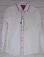 Рубашка  белая с красной окантовкой для мальчиков,  7-12 лет